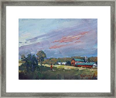 Early Evening At Phil's Farm Framed Print by Ylli Haruni