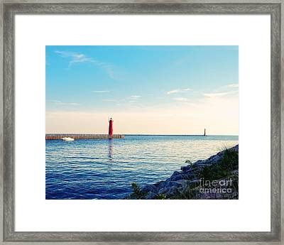 Early Evening At The Lighthouse Framed Print by Emily Kay