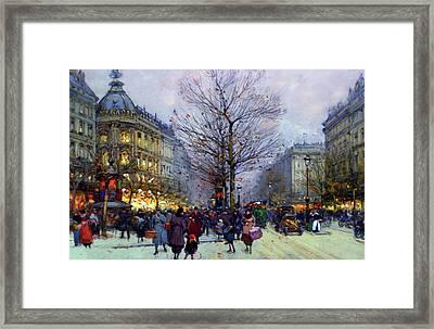 Early Evening On The Boulevards Paris Framed Print by Georgiana Romanovna