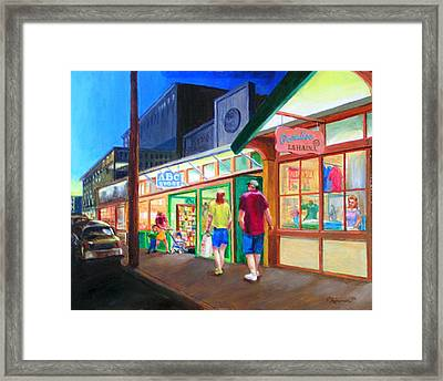 Early Evening Shoppers Framed Print by Bob Newman