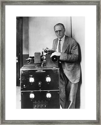 Early Fax Machine Framed Print by Underwood Archives