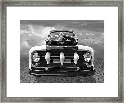 Early Fifties Ford V8 F-1 Truck In Black And White Framed Print by Gill Billington