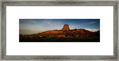 Early Light Devils Tower Wyoming Panorama 01 Framed Print by Thomas Woolworth