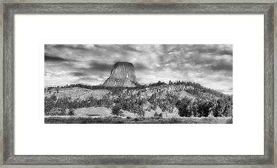 Early Light Devils Tower Wyoming Panorama Bw Framed Print by Thomas Woolworth