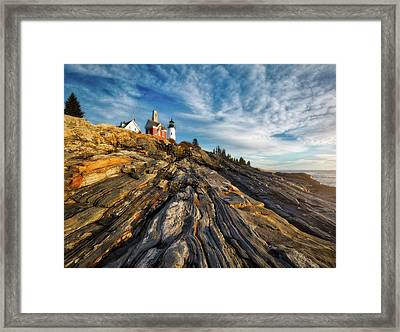 Framed Print featuring the photograph Early Morning At Pemaquid Point by Darren White