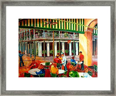 Early Morning At The Cafe Du Monde Framed Print