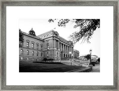 Early Morning At The Library Of Congress In Black And White Framed Print