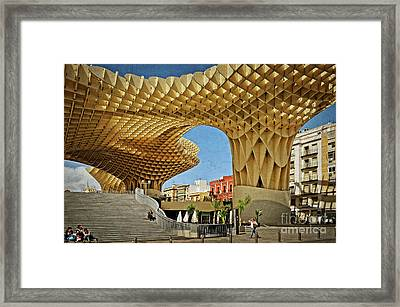 Early Morning At The Plaza Encarnacion - Seville Framed Print by Mary Machare