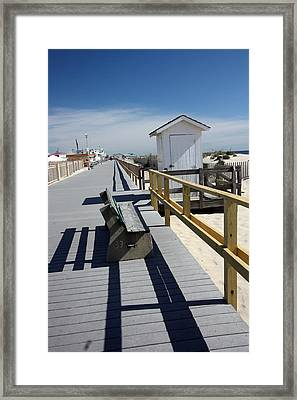 Early Morning Boardwalk Framed Print by Mary Haber