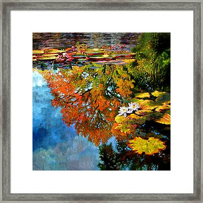 Early Morning Fall Colors Framed Print by John Lautermilch