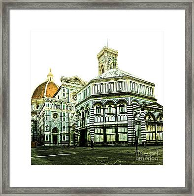 Early Morning Florentine Street Framed Print by Emilio Lovisa
