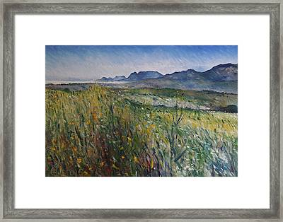 Early Morning Fog In The Foothills Of The Overberg Range Of Mountains Near Heidelberg South Africa. Framed Print