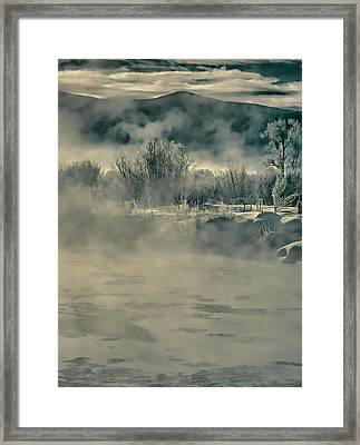 Framed Print featuring the photograph Early Morning Frost On The River by Don Schwartz
