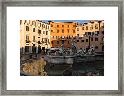 Early Morning Glow - Neptune Fountain On Piazza Navona In Rome Italy Framed Print by Georgia Mizuleva