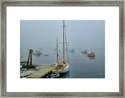 Early Morning Harbor Fog Framed Print by Garland Johnson