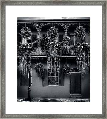 Early Morning In New Orleans In Black And White Framed Print
