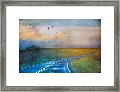 Early Morning Kansas Two-lane Highway Framed Print