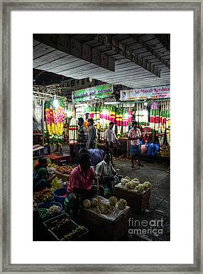 Framed Print featuring the photograph Early Morning Koyambedu Flower Market India by Mike Reid