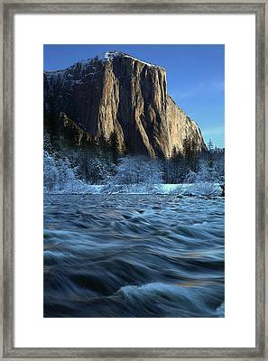 Framed Print featuring the photograph Early Morning Light On El Capitan During Winter At Yosemite National Park by Jetson Nguyen