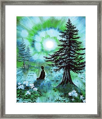 Early Morning Meditation In Blues And Greens Framed Print by Laura Iverson