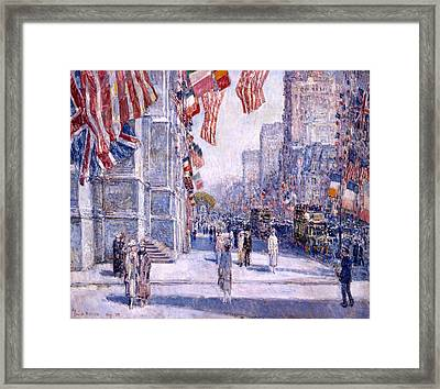 Framed Print featuring the painting Early Morning On The Avenue In May 1917 - 1917 by Frederick Childe Hassam