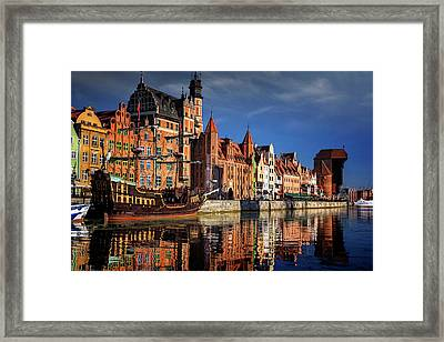Early Morning On The Motlawa River In Gdansk Poland Framed Print
