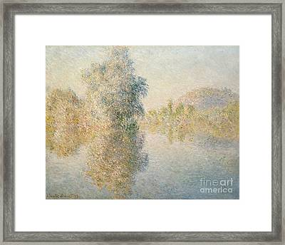 Early Morning On The Seine At Giverny Framed Print by Claude Monet