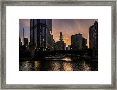 early morning orange sky on the Chicago Riverwalk Framed Print