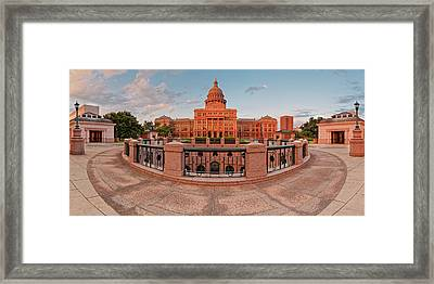 Early Morning Panorama Of The Texas State Capitol In Downtown Austin - Texas Hill Country Framed Print