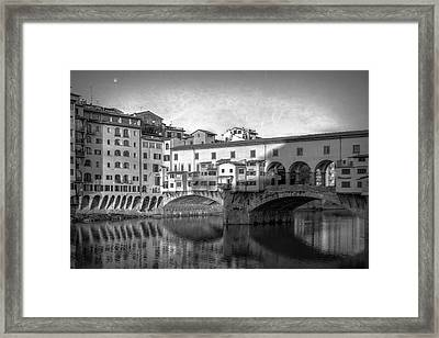 Framed Print featuring the photograph Early Morning Ponte Vecchio Florence Italy by Joan Carroll