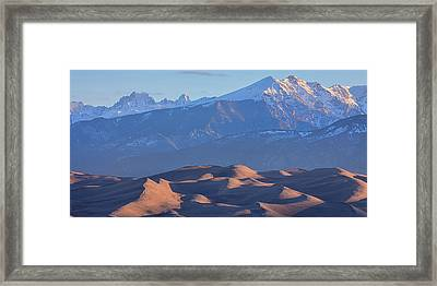 Early Morning Sand Dunes And Snow Covered Peaks Framed Print by James BO Insogna