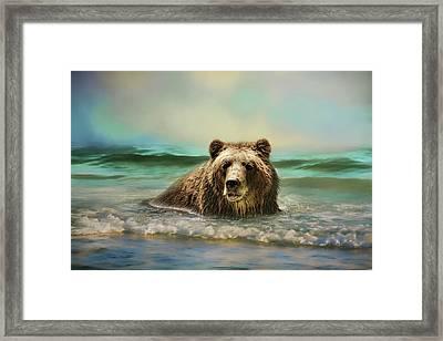 Early Morning Swim Bear Art Framed Print