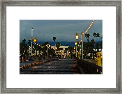 Early Morning Walk On Stearn's Pier Framed Print by Connie Cooper-Edwards