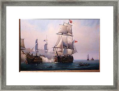 Early Painting Of The Battle Of Trafalgar. Framed Print by Mike Jeffries