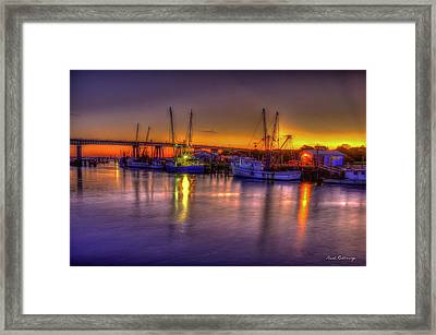 Early Readiness Tybee Island Georgia Shrimp Boat Art Framed Print by Reid Callaway