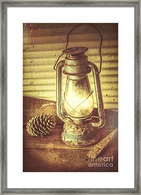 Early Settler Oil Lamp Framed Print