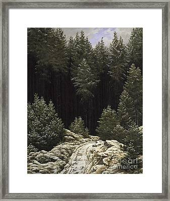 Early Snow Framed Print by Caspar David Friedrich