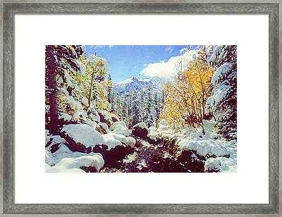 Framed Print featuring the photograph Early Snow by Eric Glaser