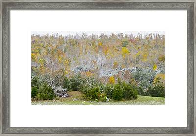 Framed Print featuring the photograph Early Snow Fall by Wanda Krack
