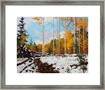 Early Snow Of Santa Fe National Forest Framed Print by Gary Kim