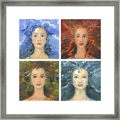 Earth Air Water And Fire Framed Print by Liz Rose