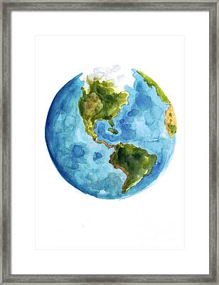 Earth America Watercolor Poster Framed Print by Joanna Szmerdt