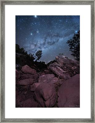 Earth Among The Stars Framed Print by Santiago Rolon