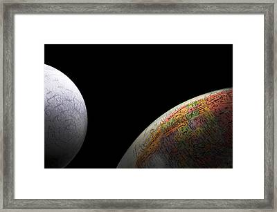 Earth And Moon Framed Print by Rob Byron
