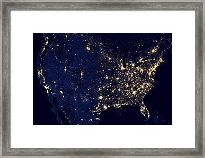Earth At Night Framed Print