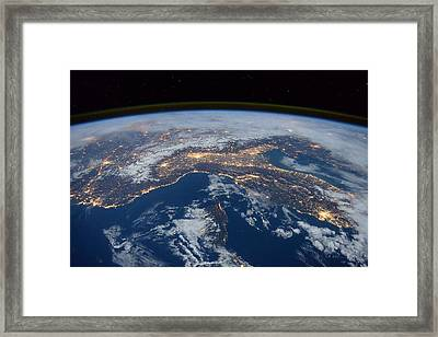 Earth At Night Framed Print by New York Prints