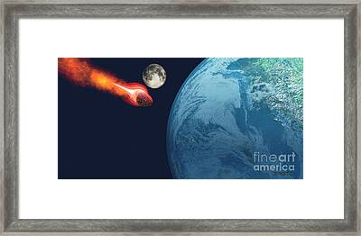 Earth Hit By Asteroid Framed Print by Corey Ford
