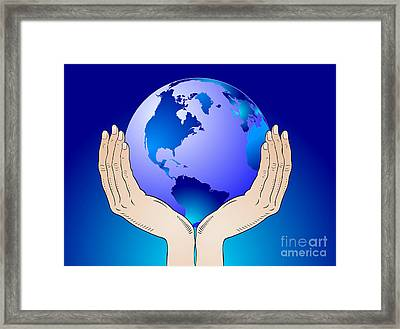 Earth In The Your Hands Framed Print by Michal Boubin