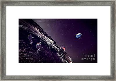 Framed Print featuring the digital art Earth Rise On The Moon by Methune Hively