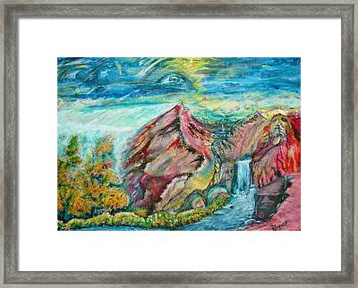 Framed Print featuring the painting Earth Rising by Kicking Bear  Productions